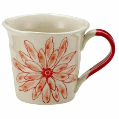 大きい花柄 マグカップ カップ コップ モーニングマグ/ 花アートマグ(赤) /モダン食器 シンプル お祝い 贈り物 ギフト