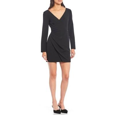 ジアーニビニ レディース ワンピース トップス Poppy V-Neck Long Sleeve Side Ruched Crepe Sheath Dress Black