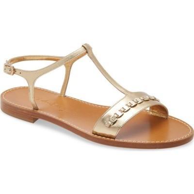 サルヴァトーレ フェラガモ SALVATORE FERRAGAMO レディース サンダル・ミュール フラット シューズ・靴 Tremiti Chain Trim Flat Sandal Gold