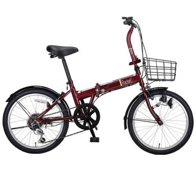 折りたたみ自転車 キャプテンスタッグ ラケット FDB206 折り畳み自転車 6段変速 カゴ付 20インチ ダークレッド
