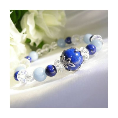 パワーストーン ブレスレット 幸運の ラピスラズリ と 天使の エンジェライト & 水晶 レディース メンズ ブレスレット 天然石