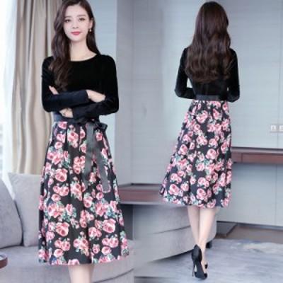 ワンピース レディース 切替えワンピース 花柄ワンピース 膝下 大きいサイズ ベルベット フローラル 薔薇 Aライン 長袖 黒