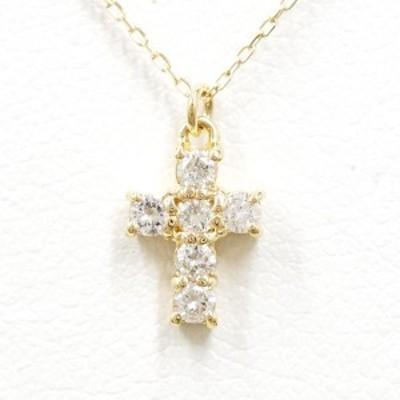 K18 18金 YG イエローゴールド ネックレス ダイヤ 総重量約1.1g 中古ジュエリー