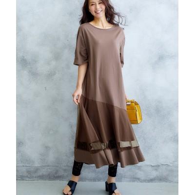 【Hana服】裾チュールロングワンピース (ワンピース)Dress