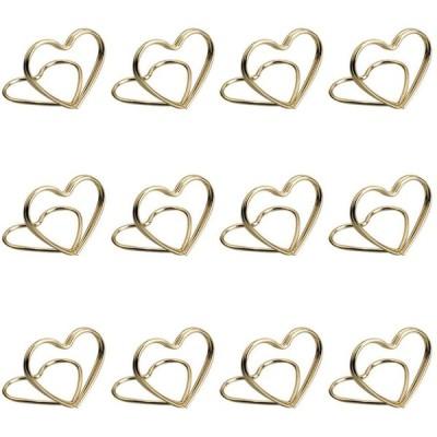 BESTOYARD カードホルダー写真番号メッセージクリップハート型テーブル結婚式パーティーオフィス自宅装飾用12pcsゴールデン