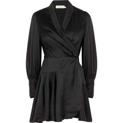 ジマーマン Zimmermann レディース パーティードレス ラップドレス ワンピース・ドレス Black Silk-Satin Wrap Dress Black