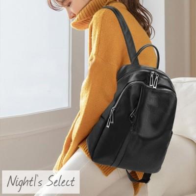 リュック バックパック 10ポケット 大容量 収納 A4 黒 ブラック 合皮 フェイクレザー  デイパック シンプル 大人 カジュアル
