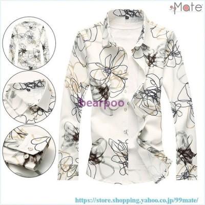 アロハシャツ メンズ 長袖 シャツ 開襟シャツ カジュアルシャツ ワイシャツ 花柄シャツ トップス 和柄 お兄系 40代 50代