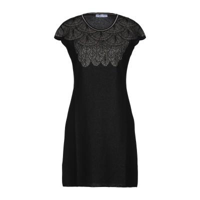 PARAKIAN ミニワンピース&ドレス ブラック 40 コットン 75% / レーヨン 16% / ポリエステル 9% ミニワンピース&ドレス