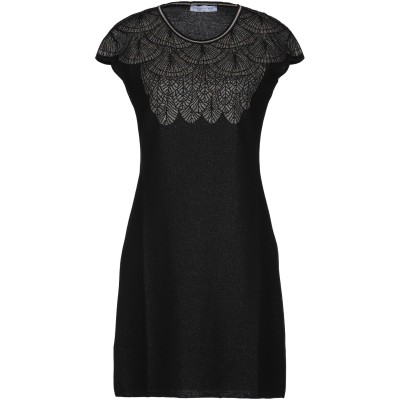 PARAKIAN ミニワンピース&ドレス ブラック 36 コットン 75% / レーヨン 16% / ポリエステル 9% ミニワンピース&ドレス