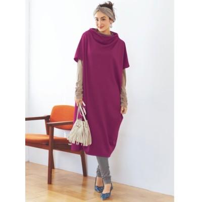 大きいサイズ 3点セット(ゆったりワンピース+プルオーバー+12分丈レギンス)(オトナスマイル) ,スマイルランド, ワンピース, plus size dress