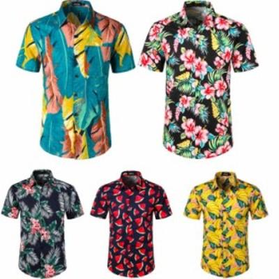 ポロシャツ メンズ アロハシャツ トップス半袖カジュアルシャツ スウェット ハワイシャツ花柄3Dプリント男性上着ゴルフウェア花柄