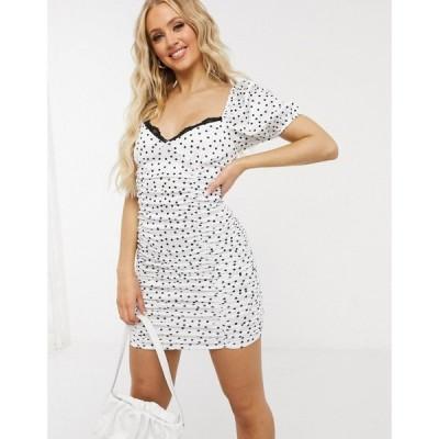 エイソス ASOS DESIGN レディース ボディコンドレス タイト ミニ丈 Stretched Satin Ruched Mini Dress Bodycon With Lace Trim In Spot Print