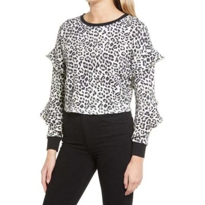 アリス アンド オリビア ALICE + OLIVIA レディース トップス Nettie Ruffle Sleeve Pullover Royal Leopard