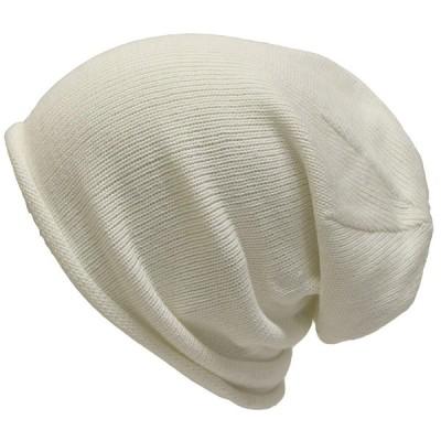 (エクサス)EXAS コットン無地ロールアップワッチ(ニット帽) ホワイト