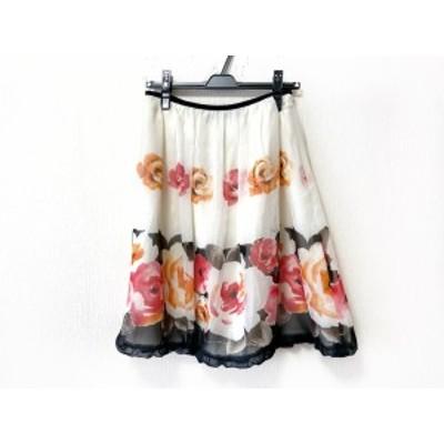 エムズグレイシー M'S GRACY スカート サイズ38 M レディース - アイボリー×レッド×マルチ ひざ丈/フラワー(花)【中古】20200806