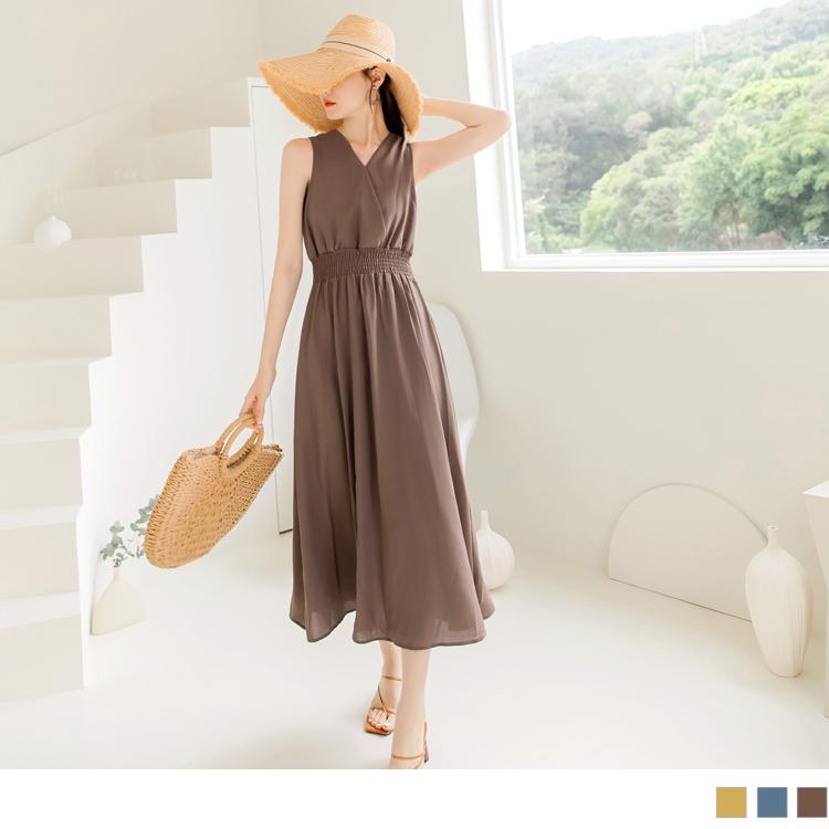 美背造型涼感不易皺縮腰長洋裝