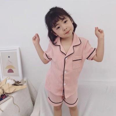 送料無料子供 パジャマ 2点セット キッズパジャマ 女の子 男の子 ベビー 夏 薄手 前ボタン 半袖トップス+半ズボン  部屋着 可愛い ナイトウェア