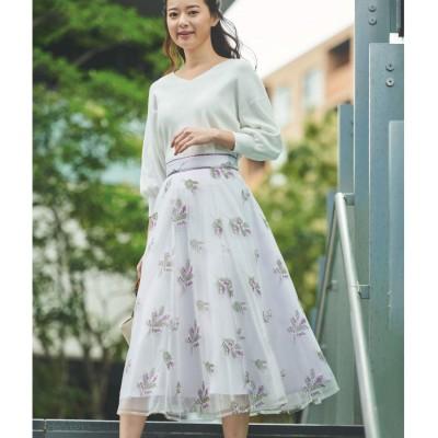 ミモザ刺繍チュールスカート (ラベンダー)