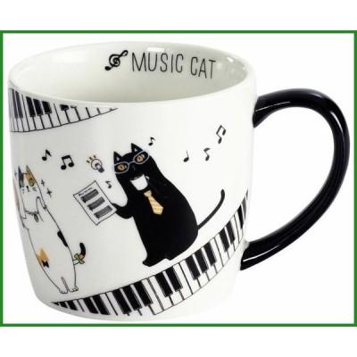 にゃん屋 ミュージックキャットマグカップ ピアノ 13217|b03