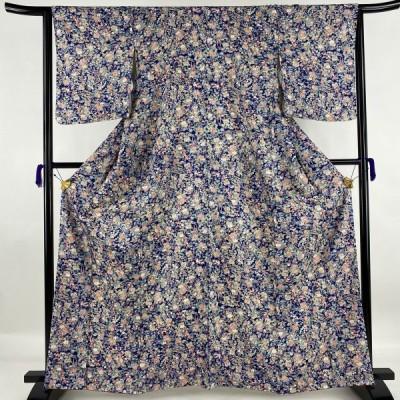 小紋 美品 優品 花車 紺色 袷 身丈164.5cm 裄丈66cm M 正絹 中古