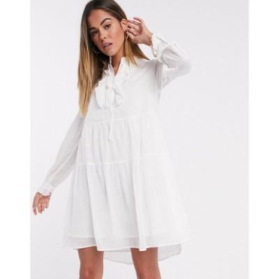 ヴェロモーダ ミニドレス レディース Vero Moda Studio smock dress with ruffle detail in white エイソス ASOS ホワイト 白