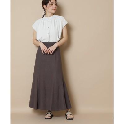 麻混マキシマーメイドスカート《S Size Line》 チャコール