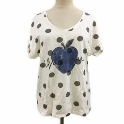 【中古】シップス SHIPS Tシャツ カットソー Uネック ドット プリント 半袖 白 グレー ホワイト レディース