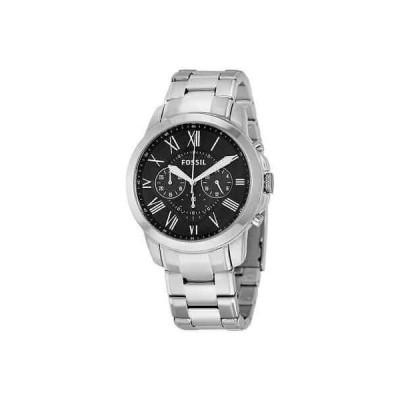 腕時計 フォッシル メンズ Fossil Grant Chronograph Black Dial Stainless Steel Men's Watch FS4736IE