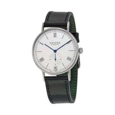 腕時計 ノモス Nomos Ludwig 38 Datum ホワイト ダイヤル ブラック レザー メンズ 腕時計 231