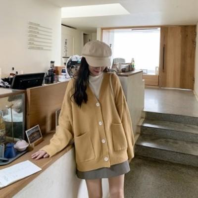 シンプルニットカーディガン アウター ミディアム 防寒 あったか 大人可愛い ガーリー カジュアル 韓国ファッション トレンド レディース