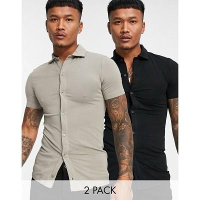エイソス メンズ シャツ トップス ASOS DESIGN 2 pack organic button through jersey shirt Multi