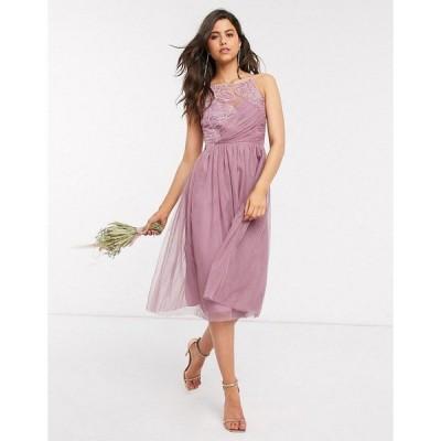 リトルミストレス レディース ワンピース トップス Little Misstress bridesmaid hand-embellished midi dress in pink Canyon rose