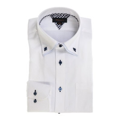 形態安定スリムフィット 2枚衿ドゥエボタンダウン長袖ビジネスドレスシャツ