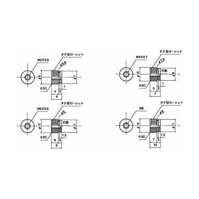 低カドミウム黄銅/ニッケル 段付ローレットナット M4 (7本)