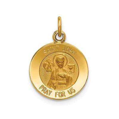 Solid 14k Yellow Gold Catholic Patron Saint John Medal Charm Pendant - 19mm x 13mm【並行輸入品】