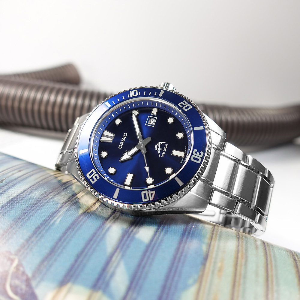 CASIO 卡西歐 雙錶帶可替換 / MDV-106BD-2A / 門市販售中 訂購詳情歡迎私訊LINE / 潛水錶 槍魚系列 藍水鬼 防水200米 日期 不鏽鋼手錶 藍色 44mm