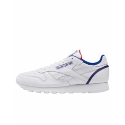 リーボック メンズ スニーカー シューズ Reebok Classic Leather sneakers in white with red vector White
