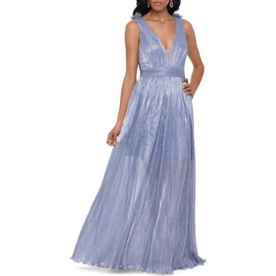 エックススケープ Xscape レディース パーティードレス Vネック ワンピース・ドレス deep v-neck long gown