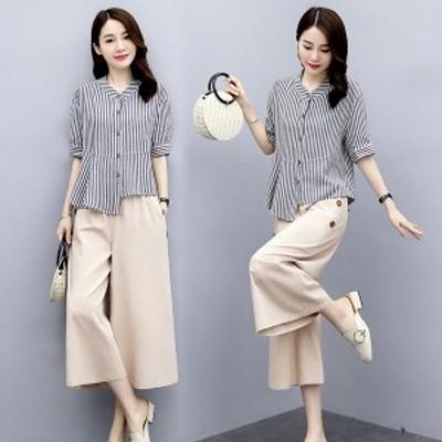セットアップ レディース 夏 40代 20代 コーデ カジュアル ブラウス シャツ 綿麻 半袖 ガウチョパンツ 大きいサイズ 韓国風 おしゃれ 着