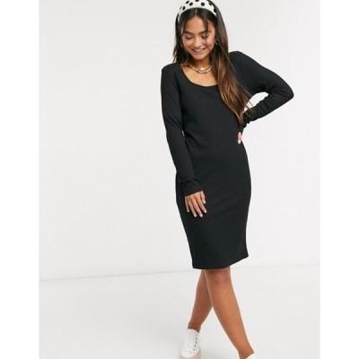 ブレーブソウル レディース ワンピース トップス Brave Soul square neck long sleeve jersey mini dress in black
