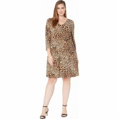 カレンケーン Karen Kane Plus レディース ワンピース 大きいサイズ Vネック ワンピース・ドレス Plus Size V-Neck Pocket Dress Leopard