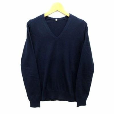 【中古】無印良品 良品計画 Vネック ニット セーター オーガニックコットン シルク 長袖 ネイビー 紺 M 美品 レディース