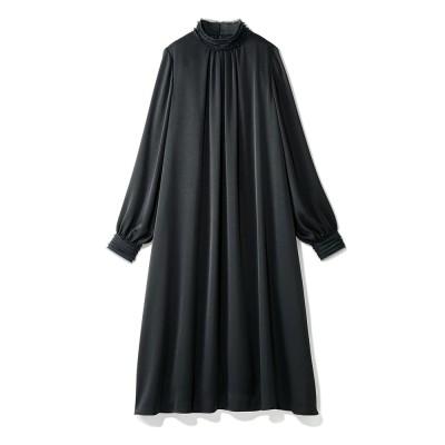 シフォン楊柳使い とろみ素材 フレアワンピース ブラック 9