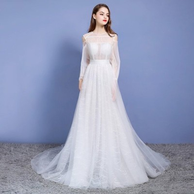 ウエディングドレス ウェディングドレス 花嫁 結婚式 aライン 白 袖あり 格安 パーティードレス 二次会 ブライダル ロングドレス イブニングドレス ドレス