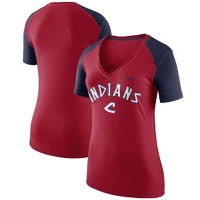 ナイキ レディース Tシャツ トップス Cleveland Indians Nike Women's V Fan V-Neck T-Shirt Red/Navy
