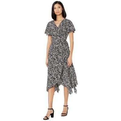アメリカンローズ ワンピース トップス レディース Norah Short Sleeve Printed Wrap Dress Black/Ivory