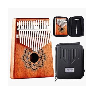 Kithouse Kalimba Thumb Piano 17 Keys, Portable Mbira Finger Piano Include EVA protective Kalimba box, Music Song Book, tuning hammer(Mandala Flower),