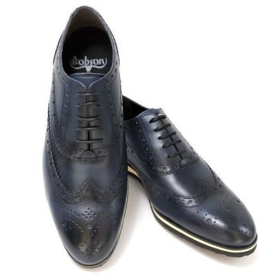 当日発送可 新発売 ボブソン BOBSON 787 日本製 レザー メンズシューズ 軽量 ビジカジ兼用 ビジネスシューズ 本革 ウイングチップ 紳士靴 ネイビー