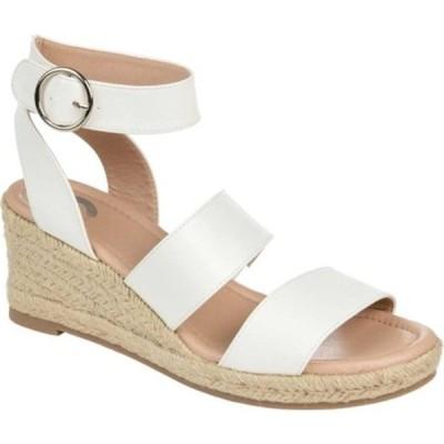 ジャーニーコレクション サンダル シューズ レディース Norra Espadrille Ankle Strap Wedge Sandal (Women's) White Faux Leather